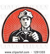 Vector Clip Art of Retro Male Police Officer Driving with Both Hands on the Steering Wheel in an Arch of Red Sunshine by Patrimonio