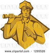 Vector Clip Art of Retro Male Police Officer or Security Guard Shining a Flashlight and Pointing over a Yellow and Brown Diamond by Patrimonio