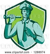 Vector Clip Art of Retro Male Police Officer Shining a Flashlight and Pointing in a Navy Blue White and Green Shield by Patrimonio