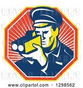 Vector Clip Art of Retro Male Police Officer Using a Speed Radar Camara in a Ray Octagon by Patrimonio
