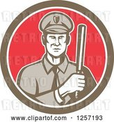 Vector Clip Art of Retro Male Policeman with a Baton in a Brown White and Red Circle by Patrimonio