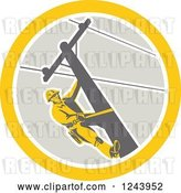 Vector Clip Art of Retro Male Power Lineman Scaling a Pole in a Circle by Patrimonio