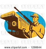 Vector Clip Art of Retro Male Pressure Washer with a Stock Trailer in a Blue Oval by Patrimonio