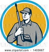 Vector Clip Art of Retro Male Pressure Washer Worker Holding a Washing Gun in a Blue White and Yellow Circle by Patrimonio
