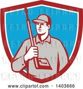 Vector Clip Art of Retro Male Pressure Washer Worker Holding a Washing Gun in a Red White and Blue Shield by Patrimonio