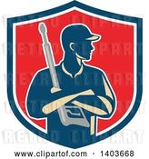 Vector Clip Art of Retro Male Pressure Washer Worker Holding a Washing Gun in Folded Arms in a Blue White and Red Shield by Patrimonio