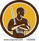 Vector Clip Art of Retro Male Pressure Washer Worker Holding a Washing Gun in Folded Arms in a Brown White and Yellow Circle by Patrimonio