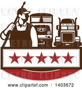 Vector Clip Art of Retro Male Pressure Washer Worker Standing with a Wand over His Shoulder and Big Rig Trucks over a Banner with Stars by Patrimonio