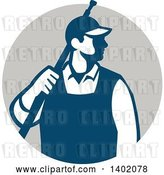 Vector Clip Art of Retro Male Pressure Washer Worker Standing with a Wand over His Shoulder in a Gray Circle by Patrimonio