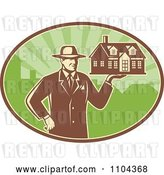 Vector Clip Art of Retro Male Real Estate Agent Holding a House over a Green Oval by Patrimonio