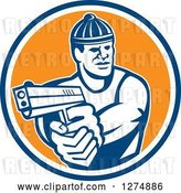 Vector Clip Art of Retro Male Robber Pointing a Gun in a Blue White and Orange Circle by Patrimonio