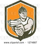 Vector Clip Art of Retro Male Robber Pointing a Gun in a Brown White and Orange Shield by Patrimonio