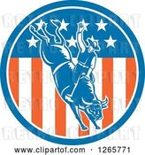 Vector Clip Art of Retro Male Rodeo Cowboy on a Bucking Bull in an American Flag Circle by Patrimonio