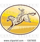 Vector Clip Art of Retro Male Rodeo Cowboy on a Bucking Horse in an Oval by Patrimonio