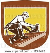 Vector Clip Art of Retro Male Roofer Using a Nail Gun in a Shield by Patrimonio