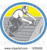 Vector Clip Art of Retro Male Roofer Working in a Yellow Blue and White Oval by Patrimonio
