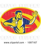 Vector Clip Art of Retro Male Rugby Player Fending the Ball by Patrimonio