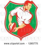August 14th, 2018: Vector Clip Art of Retro Male Rugby Player in a Gray Red White and Green Shield by Patrimonio