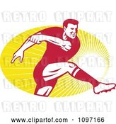 Vector Clip Art of Retro Male Rugby Player Kicking the Ball over Rays by Patrimonio