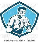 Vector Clip Art of Retro Male Rugby Player with a Ball in a Blue Shield by Patrimonio