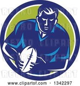 Vector Clip Art of Retro Male Rugby Player with the Ball Inside a Blue White and Green Circle by Patrimonio