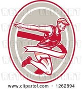 Vector Clip Art of Retro Male Runner Breaking Through a Finish Line in a Red Taupe and White Oval by Patrimonio