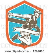 Vector Clip Art of Retro Male Runner Breaking Through a Finish Line in a Taupe Orange White and Blue Shield by Patrimonio