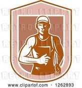 Vector Clip Art of Retro Male Runner in a Shield by Patrimonio