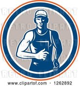 Vector Clip Art of Retro Male Runner in an Orange White Blue and Taupe Circle by Patrimonio