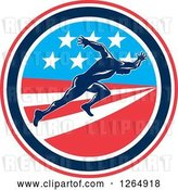 Vector Clip Art of Retro Male Runner Sprinting in an American Flag Circle by Patrimonio