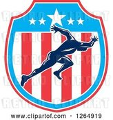 Vector Clip Art of Retro Male Runner Sprinting in an American Flag Shield by Patrimonio