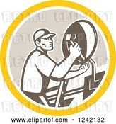 Vector Clip Art of Retro Male Satellite Installer Adjusting a Dish in a Circle by Patrimonio