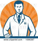 Vector Clip Art of Retro Male Scientist Resting One Hand on a Laboratory Counter over Orange Rays by Patrimonio