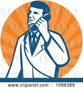 Vector Clip Art of Retro Male Scientist Talking on a Telephone over Orange Rays by Patrimonio