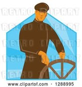 Vector Clip Art of Retro Male Sea Captain at the Helm Wheel over Blue Rays by Patrimonio