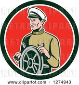 Vector Clip Art of Retro Male Sea Captain at the Wheel in a Black White and Red Circle by Patrimonio