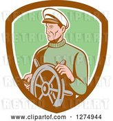 Vector Clip Art of Retro Male Sea Captain at the Wheel in a Brown White and Green Shield by Patrimonio