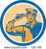 Vector Clip Art of Retro Male Sea Captain Using Binoculars in a Circle by Patrimonio