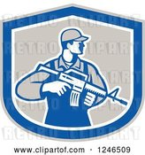 Vector Clip Art of Retro Male Soldier Holding an Assault Rifle in a Shield by Patrimonio