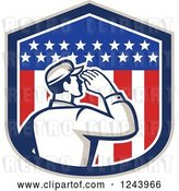 Vector Clip Art of Retro Male Soldier Saluting in an American Flag Shield by Patrimonio