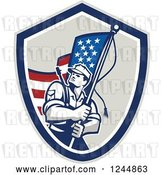 Vector Clip Art of Retro Male Soldier Waving an American Flag in a Shield by Patrimonio