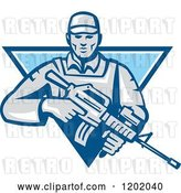 Vector Clip Art of Retro Male Soldier with an Assault Rifle in a Blue Triangle by Patrimonio