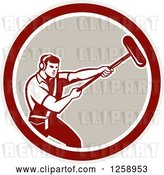 Vector Clip Art of Retro Male Soundman Film Crew Guy Holding a Microphone in a Circle by Patrimonio