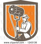 Vector Clip Art of Retro Male Stage Worker Moving a Lighting Stand in a Shield by Patrimonio