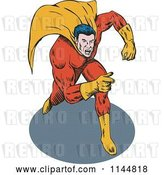 Vector Clip Art of Retro Male Superhero Running and Pointing 2 by Patrimonio