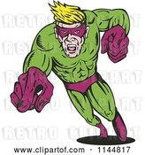 Vector Clip Art of Retro Male Superhero Running and Pointing 3 by Patrimonio