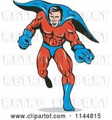 Vector Clip Art of Retro Male Superhero Running and Pointing by Patrimonio