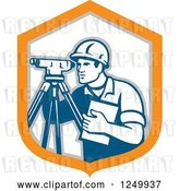 Vector Clip Art of Retro Male Surveyor in a Shield by Patrimonio