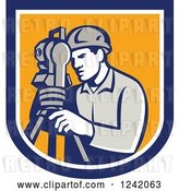 Vector Clip Art of Retro Male Surveyor Using a Theodolite in a Blue and Yellow Shield by Patrimonio