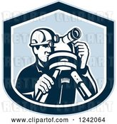Vector Clip Art of Retro Male Surveyor Using a Theodolite in a Blue Shield by Patrimonio